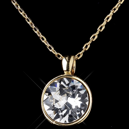 Gold Clear Round Swarovski Element Crystal Jewelry Set 9600