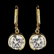 Gold Clear Round CZ Crystal Leverback Drop Earrings 9400