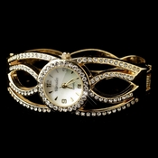 Gold Clear Round Rhinestone Bangle Watch 24