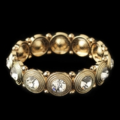 Gold Clear Round Rhinestone Stretch Bracelet 2222