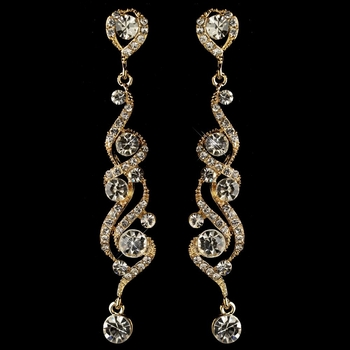 Gold Clear Round Rhinestone Swirl Dangle Earrings 82018**Discontinued***