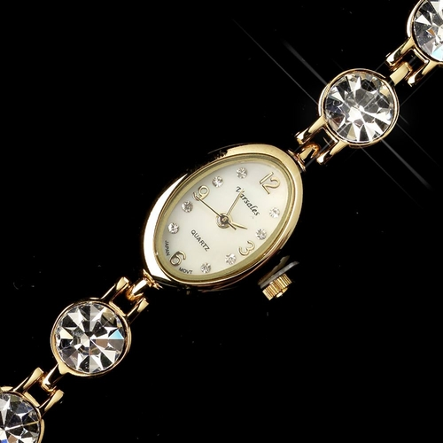 Gold Clear Round Rhinestone Watch 13