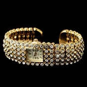 Gold Clear Round Rhinestone Watch 23
