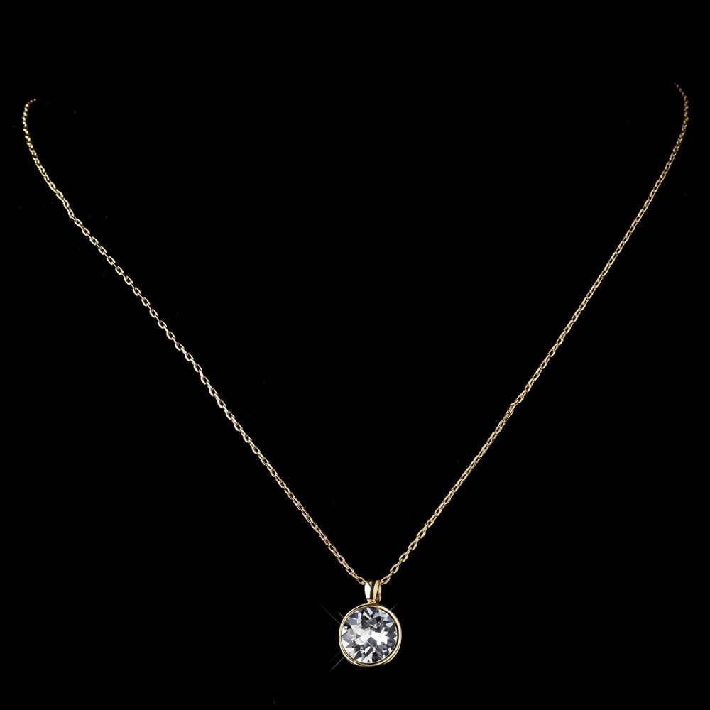 Gold Clear Round Swarovski Crystal Element On Chain Necklace 9600 826af7f091