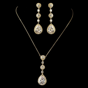 Gold Clear Round & Teardrop CZ Crystal Necklace 8623 & Earrings 8676 Jewelry Set