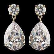 Gold Clear Round & Teardrop Drop Earrings 7770