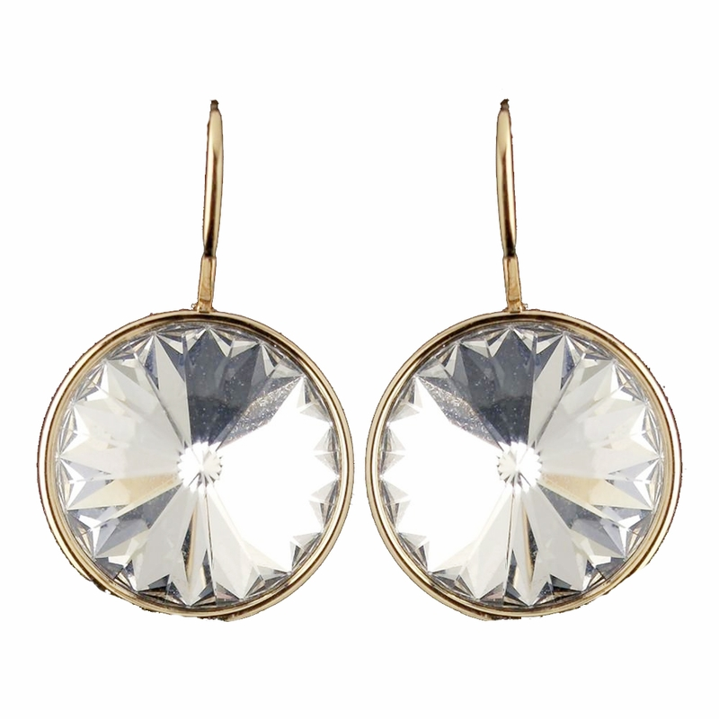 68bf5ab79 Gold Clear Swarovski Crystal Element Large Round Leverback Earrings 9603