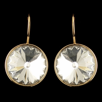 Gold Clear Swarovski Crystal Element Large Round Leverback Earrings 9603