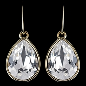 Gold Clear Swarovski Crystal Element Large Teardrop Hook Earrings 9604