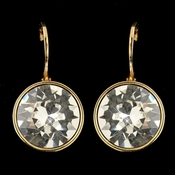 Gold Clear Swarovski Crystal Element Round Leverback Earrings 9600