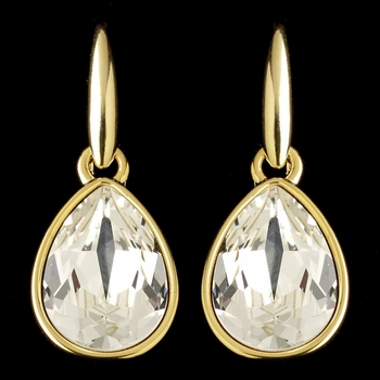 Gold Clear Swarovski Crystal Element Teardrop Dangle Hook Earrings 9601