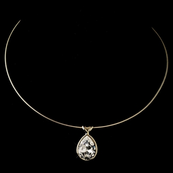 Gold Clear Swarovski Crystal On Wire Teardrop Pendant Necklace 9604