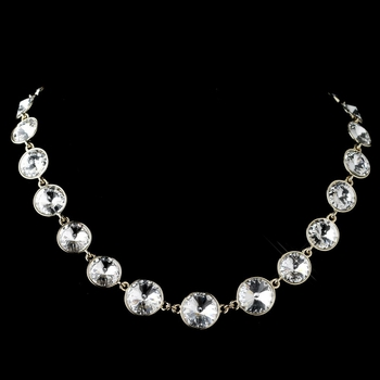 Gold Clear Swarovski Crystal Round Solitaire Necklace 9607