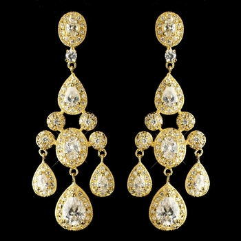 Gold Clear Teardrop CZ Crystal Chandelier Earrings 8677
