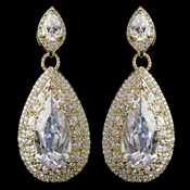 Gold Clear Teardrop CZ Drop Earrings