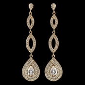 Gold Clear Teardrop Pave CZ Crystal Dangle Earrings 7787