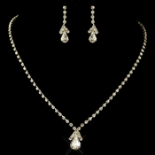 Gold Clear Teardrop Rhinestone Jewelry Set 8385