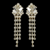 Gold Crystal Dangle Clip On Bridal Earrings E 20009