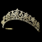 Gold Crystal & Rhinestone Bridal Tiara HP 434