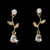Gold Cubic Zirconia Drop and Vine Earrings E 2657