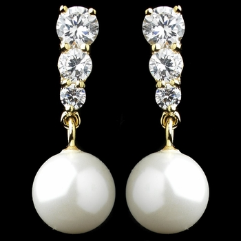 Gold Dangling Cubic Zirconia Tripod with Faux Pearl Accent Earrings 8628