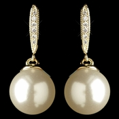 Gold Diamond White Pearl & Clear Rhinestone Drop Earrings 7757