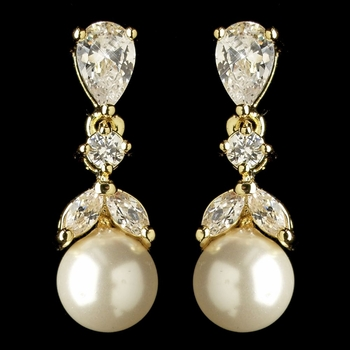 Gold Diamond White Pearl & CZ Crystal Drop Earrings 3905