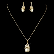 Gold Diamond White Pearl CZ Crystal Jewelry Set 8595