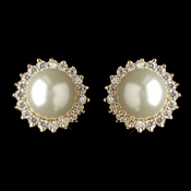 Gold Diamond White Pearl & CZ Crystal Stud Earrings 9396