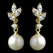 Gold Diamond White Pearl & Marquise CZ  Drop Earrings