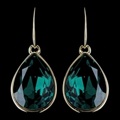 Gold Emerald Swarovski Crystal Element Large Teardrop Hook Earrings 9604