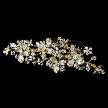 Gold Floral Accented Crystal Versatile Comb-058