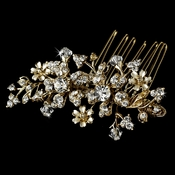 Gold Floral Swarovski Crystal Bridal Hair Comb 8005