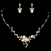 Gold Freshwater Pearl & CZ Crystal Jewelry Set