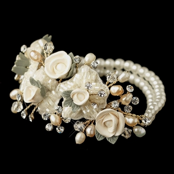 Gold Freshwater Rum Pearl, Faux Ivory Pearl & Rum Rose Stretch Bracelet 9900***Discontinued***