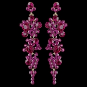 Gold Fuchsia Rhinestone Round Dangle Earrings 9889