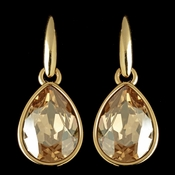 Gold Golden Lt Brown Swarovski Crystal Element Teardrop Dangle Hook Earrings 9601