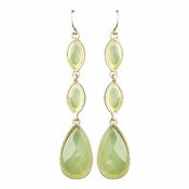 Gold Green Dangle Earrings 8840