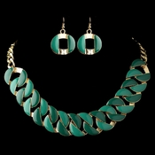 Gold Green Fashion Enameled Jewelry Set 82033