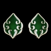 Gold Green Simple Enameled Earrings 9626