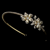Golden Rhinestone Adored Headband with Ivory Side Accents of Faux Pearl Flowers 2853