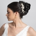 Gold Ivory Enameled Flower Bridal Wedding Hair Comb w/ Rhinestones 5206