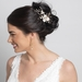 Gold Ivory Enameled Flower Bridal Wedding Hair Comb w/ Rhinestones 5207