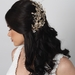 Gold Ivory Flower Bridal Wedding Hair Comb w/ Rhinestones & Pearls 5088