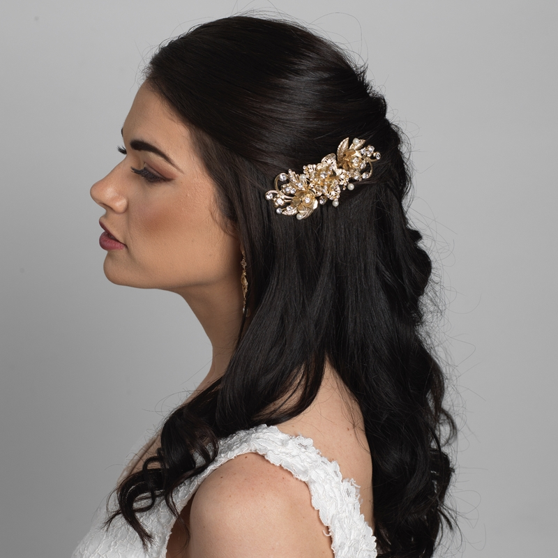 hair with style gold ivory flower bridal wedding hair comb w rhinestones 6258
