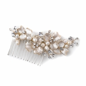 Gold Ivory Freshwater Pearl & Rhinestone Floral Bridal Wedding Hair Comb 120