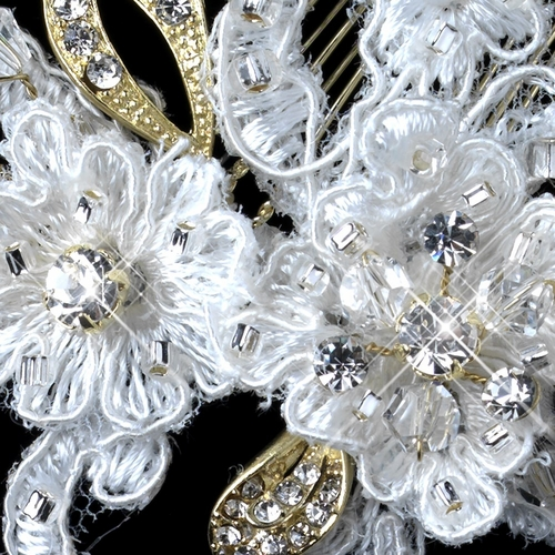 Gold Ivory Lace, Rhinestone, Bead & Swarovski Crystal Floral Comb