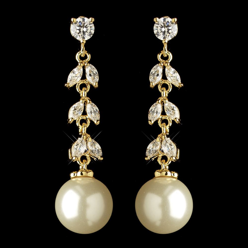 Gold ivory pearl cz crystal dangle earrings 2270 for Best glue for pearl jewelry