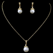 Gold Ivory Pearl & CZ Pendant Jewelry Set 8602