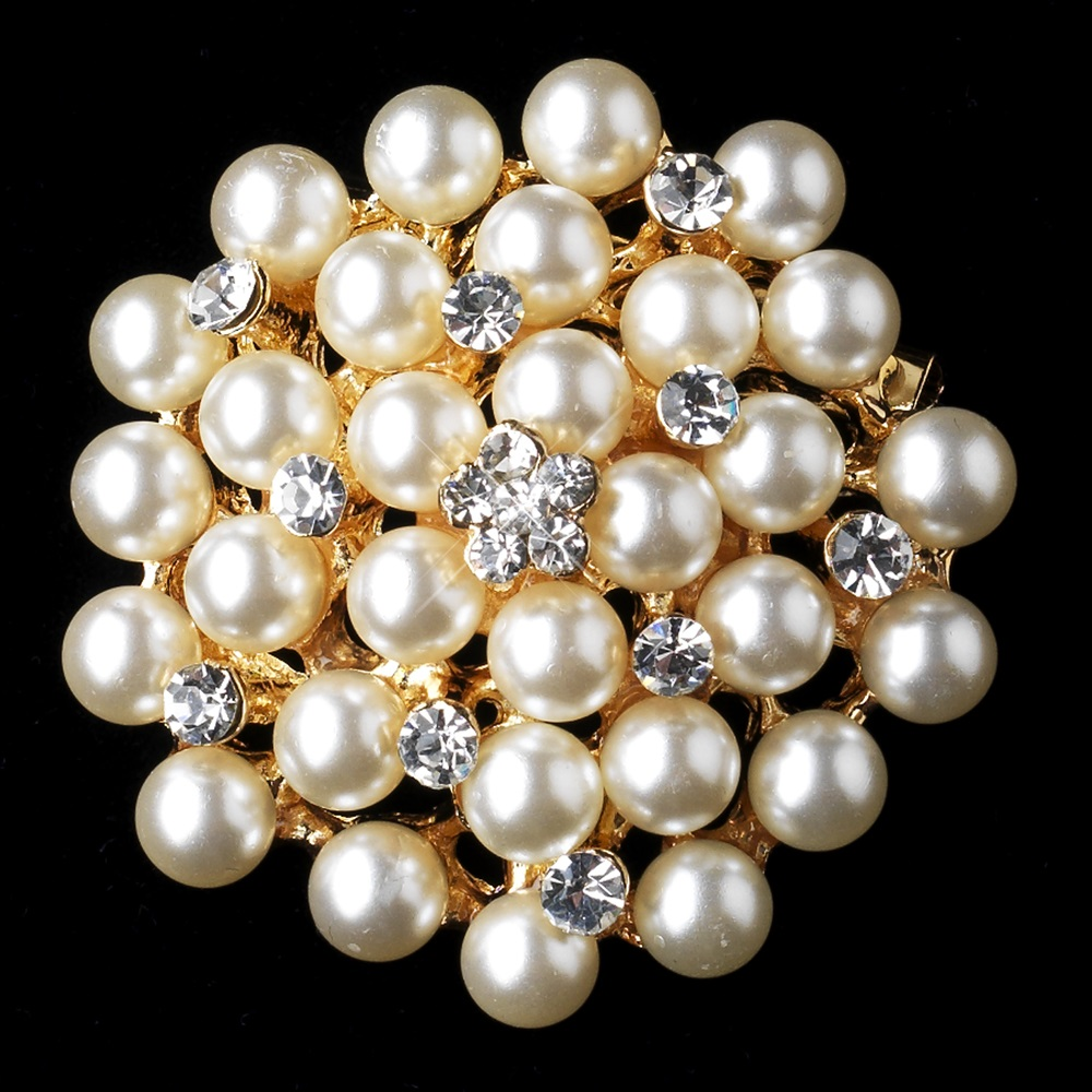 Gold ivory pearl rhinestone bridal brooch 31 discontinued for Best glue for pearl jewelry